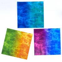 グラシン紙|二色しぼり 単色|折り紙サイズ|透けるデザインペーパー  緑青 橙緑 青紫