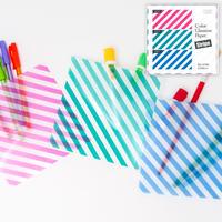 グラシン紙|ストライプ柄 3色アソート|折り紙サイズ|ラッピング 透けるデザインペーパー