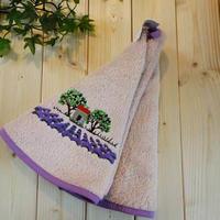 pv-towel024 ★機能性、デザイン性抜群!プロヴァンスの豊かな自然をモチーフにした円形タオル(オリーブの木ピンク)