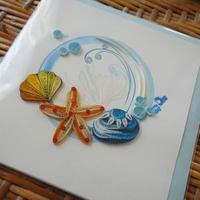 pc22   ★立体的なデザインがかわいい!ベトナムペーパークイリングカード(ヒトデ&貝)