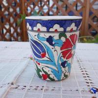 cup-36  手描きのトルコ・キュタフヤ陶器カップ(チューリップ&カーネーション)