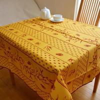 pv019-150           プロヴァンス テーブルクロス 正方形150×150(幸せのシンボルのセミとオリーブ・イエロー)