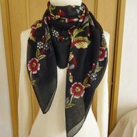 turcl11   繊維の宝庫トルコのふわっと軽いコットンスカーフ(ブラック)L