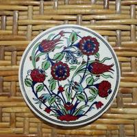 ★tpc-5  繊細なトルコ・プリント陶器コースター(ラーレ&カーネーション)