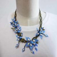oya-neck3★イーネオヤ シルク糸で編む可憐なレース アクセサリー  (キキョウの花)