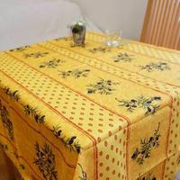 pv014-150           プロヴァンス テーブルクロス 正方形150×150(オリーブのデザインイエロー)