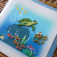 pc42   ★立体的なデザインがかわいい!ベトナムペーパークイリングカード(海の仲間)