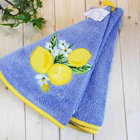 pv-towel031 ★機能性、デザイン性抜群!プロヴァンスの豊かな自然をモチーフにした円形タオル(レモンブルー)