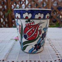 cup-35  手描きのトルコ・キュタフヤ陶器カップ(チューリップ&カーネーション)