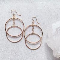 14KGF Double Hoop Swing Earrings