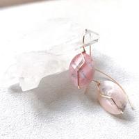 14KGF Pink Opal Short HooK Eariings