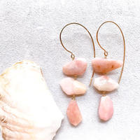 14KGF 3 pcs Pink Opal Line HooK Eariings