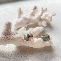 14KGF Abalone Shell & Crystal Studs Earrings タイプC