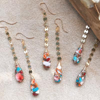 14KGF Oyster Copper Turquoise Line Earrings