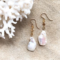 14KGF Creamy Pearl  Short Earrings