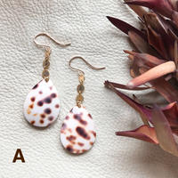 14KGF Brown Dot Drop Shell Earrings