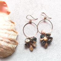 14KGF Abalone Shell Dripping Earrings