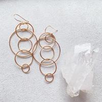 14KGF  Mixed Hoop Connected Earrings