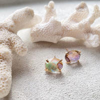14KGF Abalone Shell & Crystal Studs Earrings タイプA