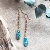 14KGF Copper Turquoise Line Earrings