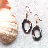 14KGF Oval Brown Shell Earrings