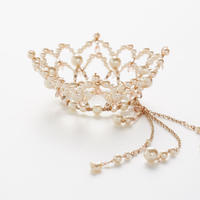 Beige Pink Crystal Crown