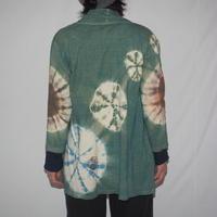 Gathered 3/4 Cardigan(緑色×茶色×水色)