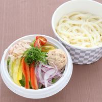 【サラダうどん】 新鮮な野菜と冷たい讃岐うどんをツナマヨネーズと酸味の効いた特製和風ダレでお召し上がり下さい。