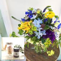 〈生花*予約〉母の日に♡ブーケ&スイーツセット ブルー系ミックス