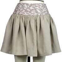 【帯ボトムスシリーズ】ヒップハングのギャザースカート 本体:ベルギーリネン (ベージュ) I3 【送料・代引き手数料無料】