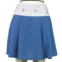 【帯ボトムスシリーズ】ヒップハングのソフトプリーツスカート 本体:ベルギーリネン (ブルー) D2