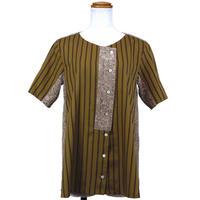 アシンメトリーノーカラーシャツ(マスタード)(G62)