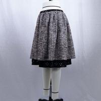 【シルバーラメ混リングニット】ローウエストギャザースカート (グレー)  J41 【送料・代引き手数料無料】