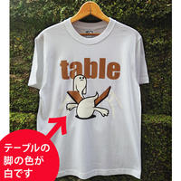 テーブルマブイくんテーブルの脚が白いプリント(ホワイト)