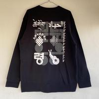 ALKDO/生命  スウェット Back print only/オフブラック,white