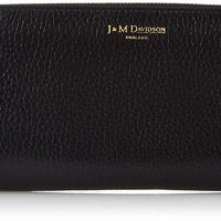 J&M DAVIDSON Elongated Zip Wallet, Black