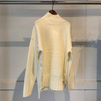 【SPAAACE...】モックネックニット  PULL OVER4-WHITE-F