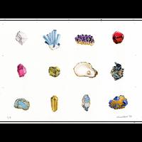 河井いづみ「時間の美-誕生石12種-」リトグラフ