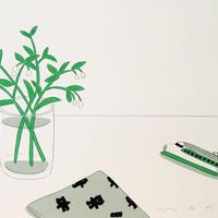 安西水丸「新幹線と花」