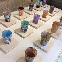 宮本崇輝 ガラス作品「カラー斑点グラス 緑」
