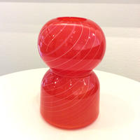 宮本崇輝 ガラス作品「ラフなラインの花瓶・レッド」