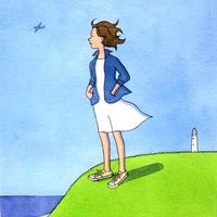 杉田比呂美「海からの風」原画作品