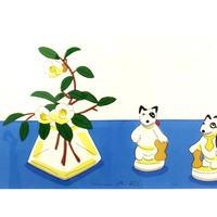 安西水丸「犬の置物と花」  mizumaru anzai