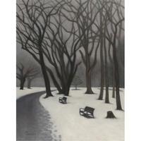 民野宏之 「初雪の公園 」原画