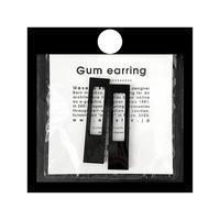 acrylic【レクタングル ブラック】GUM EARRING parts アクリリック 坂雅子