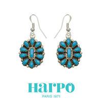 HARPO ハーポ【NAVAJO TURQUOISE FLOWER EARRINGS BOW85】ナバホ ターコイズ ピアス