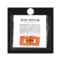 acrylic【スクエア小 オレンジ】GUM EARRING parts アクリリック 坂雅子