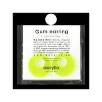 acrylic【サークル大 ネオンイエロー】GUM EARRING parts アクリリック 坂雅子