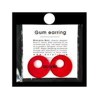 acrylic【サークル大 レッド】GUM EARRING parts  アクリリック 坂雅子