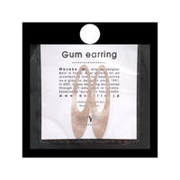 acrylic【ロングオーバル ベージュ 和紙】GUM EARRING parts アクリリック 坂雅子